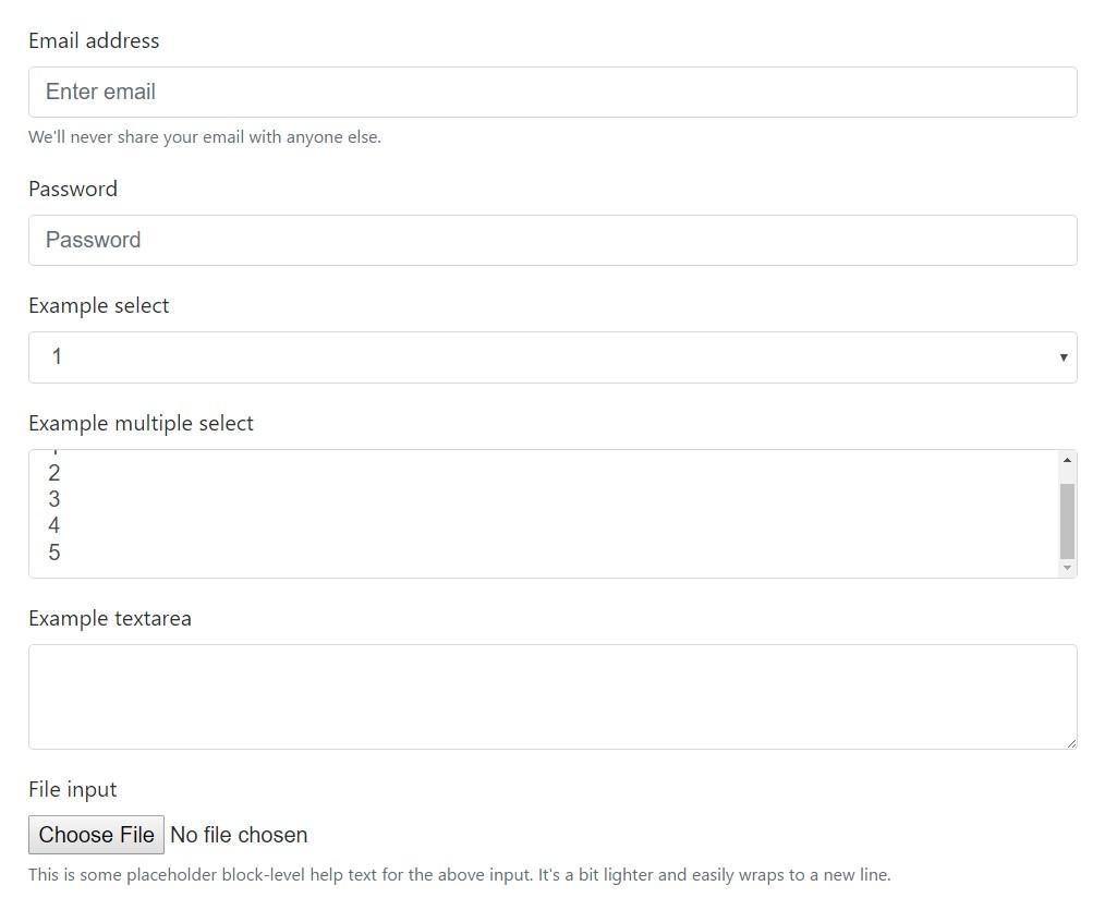 ورودی های فرم در بوت استرپ4