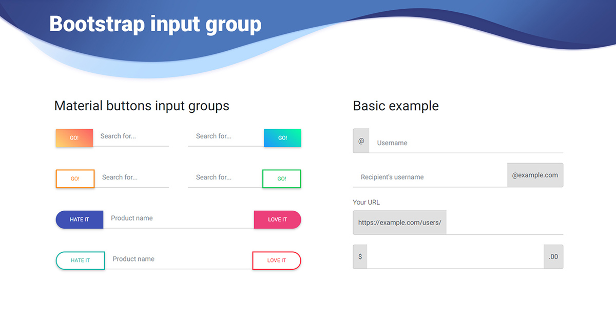 input groups in bootstrap4